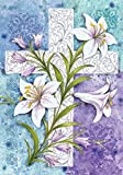 Toland - Easter Lilies - Decorative White Cross Religious Spring Holiday USA-Produced Garden Flag
