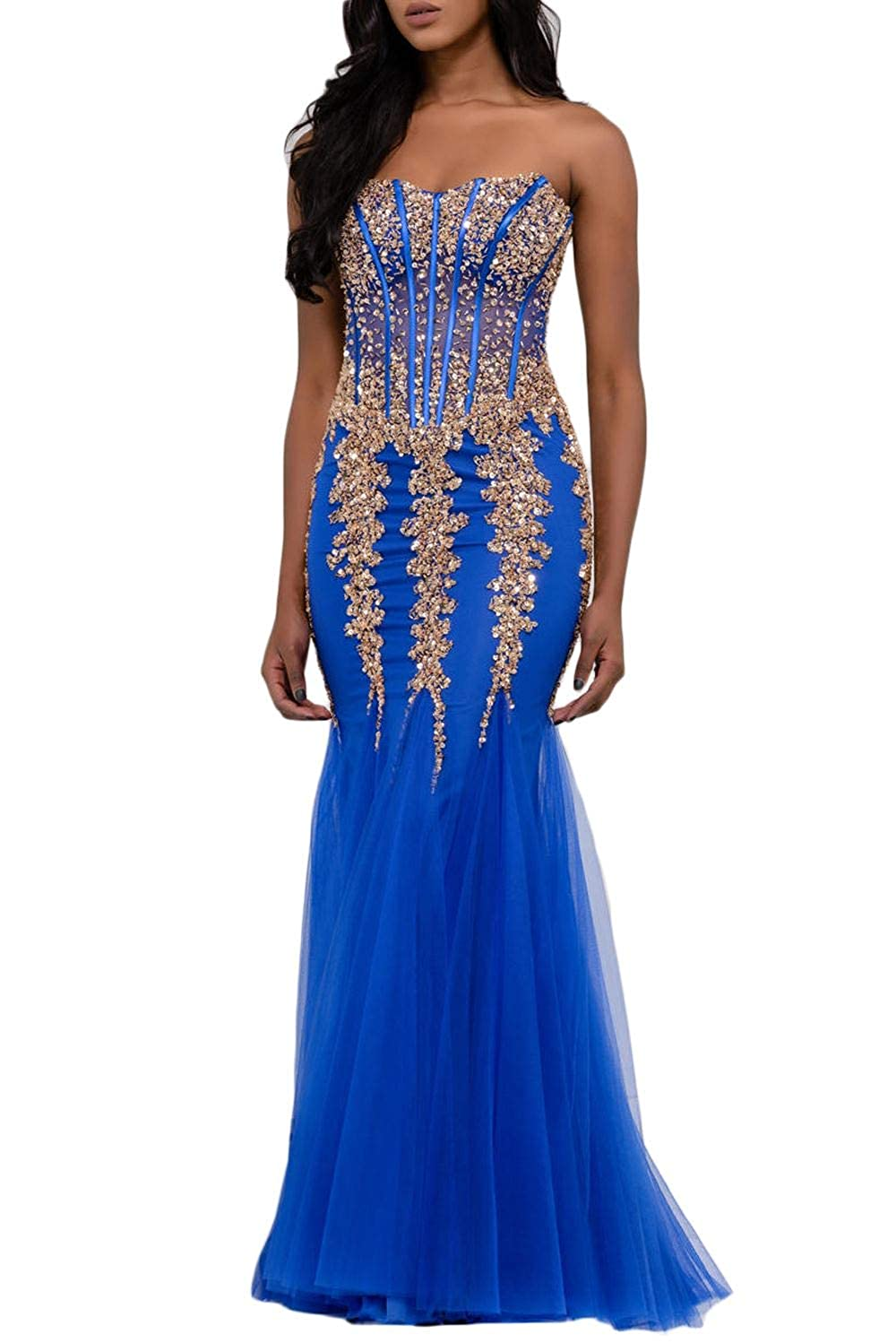 Royal bluee Yisha Bello Women's Sweetheart Strapless Crystal Beaded Mermaid Formal Prom Evening Dresses