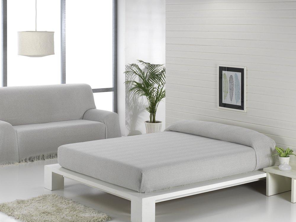 Texturas VIP - Colcha Multiusos ZIG-Zag Sofá y Cama Low Cost (Varios tamaños Disponibles) (125_x_180_cm, Gris-Perla)