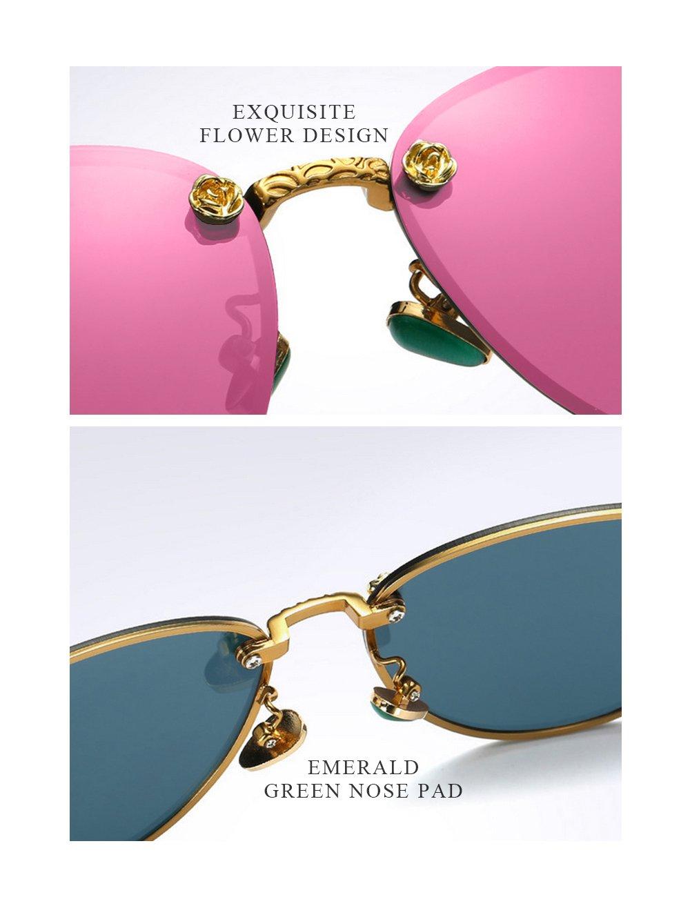 WELUK Fashion Polarized Rimless Cateye Sunglasses Oversized Color Tinted Pink