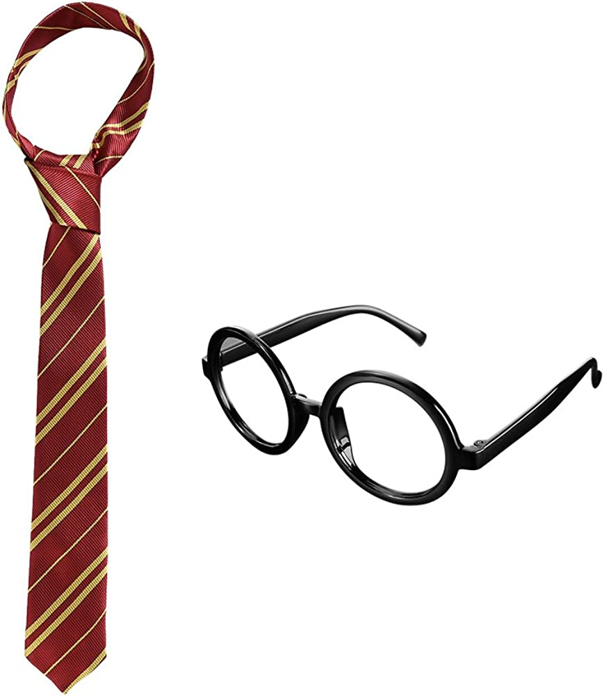 Halloween Christmas Party Supplies Costume Accessory Cosplay Tie with Novelty Glasses Frame for Kids Teens