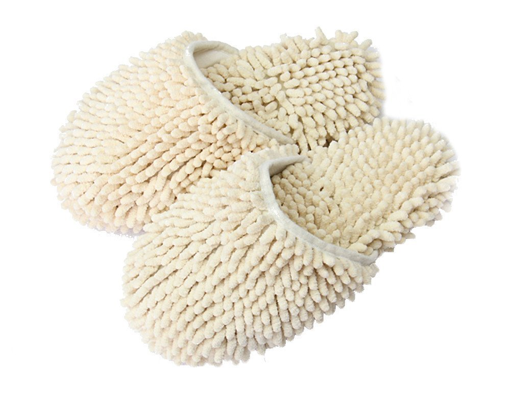 Yi Nuo Chenille Floor Dust Mop Shoes Mopping Slippers Removable Cleaning Tool Beige