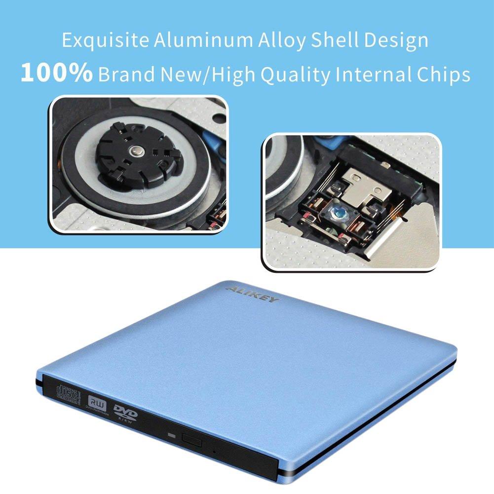 ALIKEY External DVD Drive, USB 3.0 CD/DVD-RW Writer Burner All-aluminum Ultra Slim Portable DVD Drive for Laptop and Desktop PC Windows Linux OS Apple Mac Macbook Pro (Blue) by ALIKEY (Image #2)