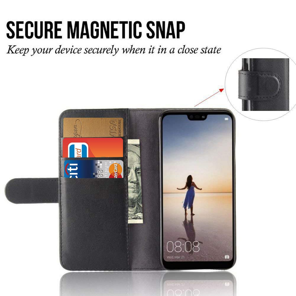 Huawei P20 Lite Wallet Phone Case, PRODELI Premium PU Leather Folio Flip Magnetic Closure Phone Protective Case Cover with Stand Function and Card Slots (Black)
