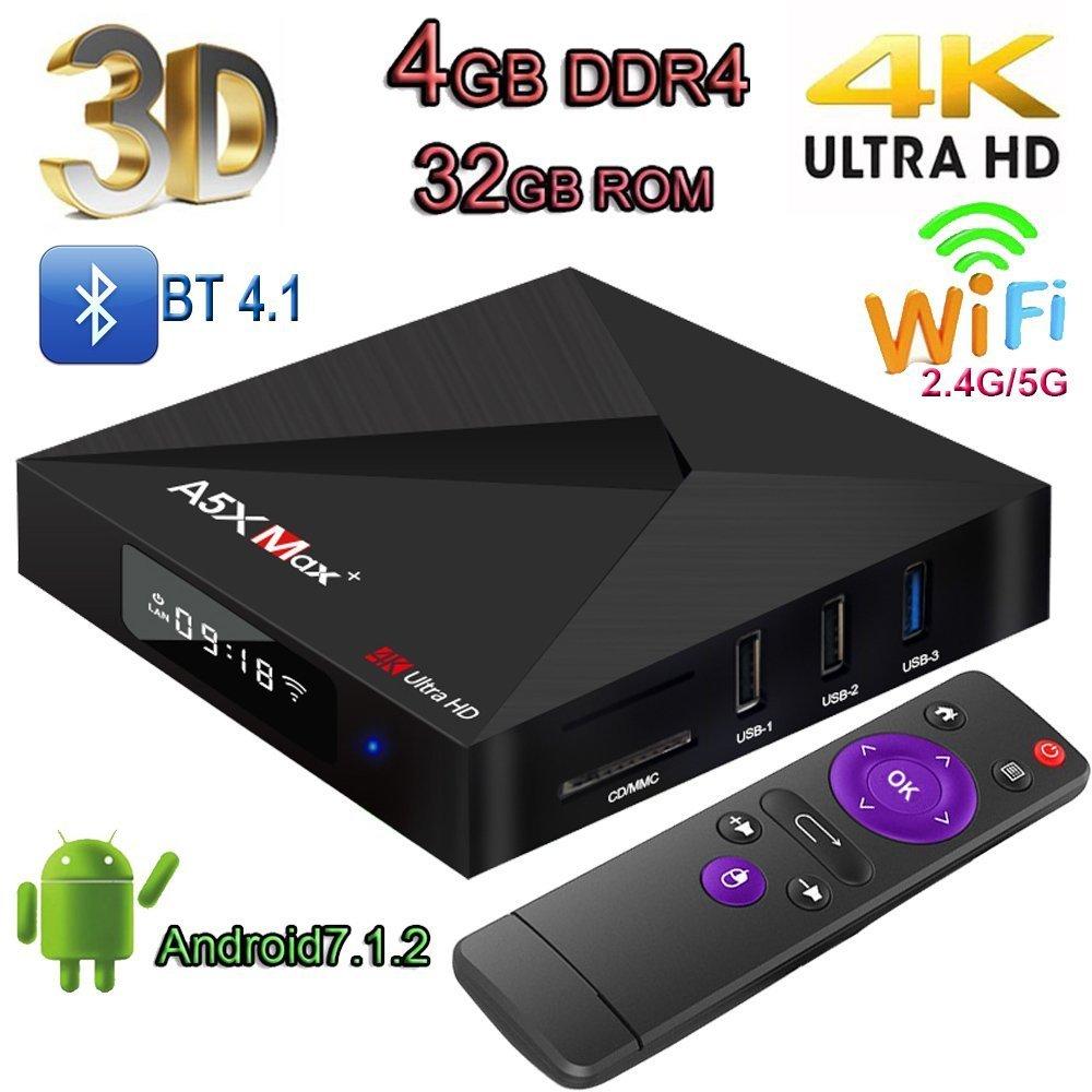 TV Box, topsellingstore A5X Max Plus Smart TV Box 4K Android 7.1rk3328K18.0Quad Core 4GB 32GB Bluetooth 4.1Dual Wifi Pantalla LED Set Top Box 1000m Wan 3d 4K Ultra HD TV