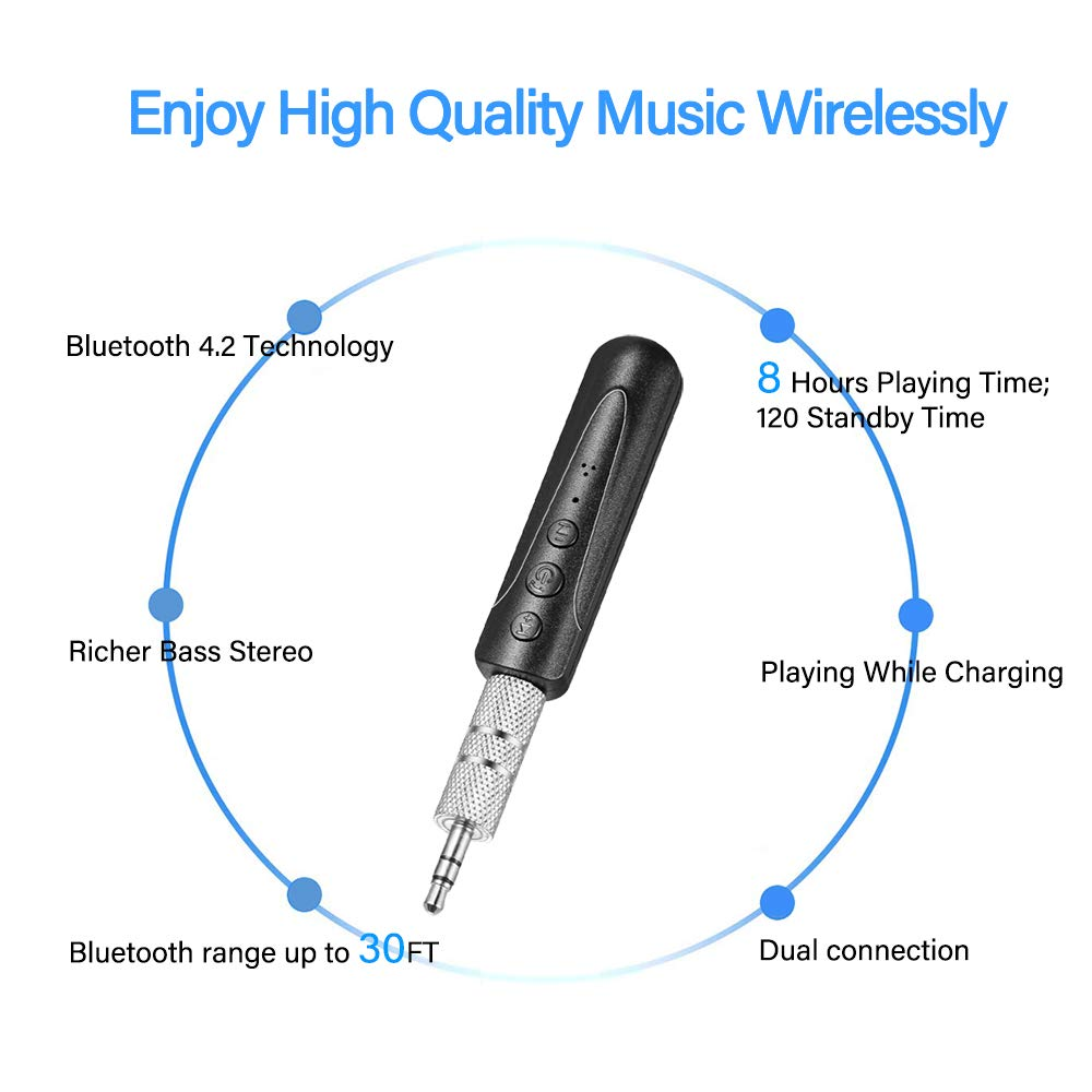Black Headphone Bluetooth Receiver Home Mini Wireless Bluetooth V4.2 Audio Adapter Hands-Free Car Kits 3.5mm Jack Stereo System for Car Aux Jack