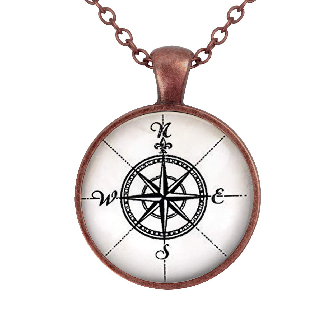 Lightrain Vintage Compass Needle Pendant Necklace Vintage Bronze Chain Statement Necklace Handmade Jewelry Gifts