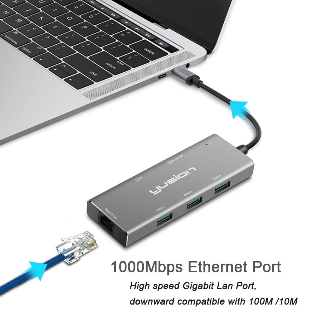 Amazon.com: Yusion USC-C 3.1 - Adaptador multipuerto USB C ...