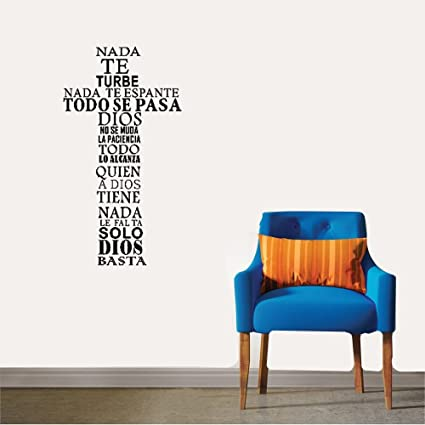 opure Wall stickers vinyl Words Sayings Removable Lettering Spanish nada te turbe nada te espante for
