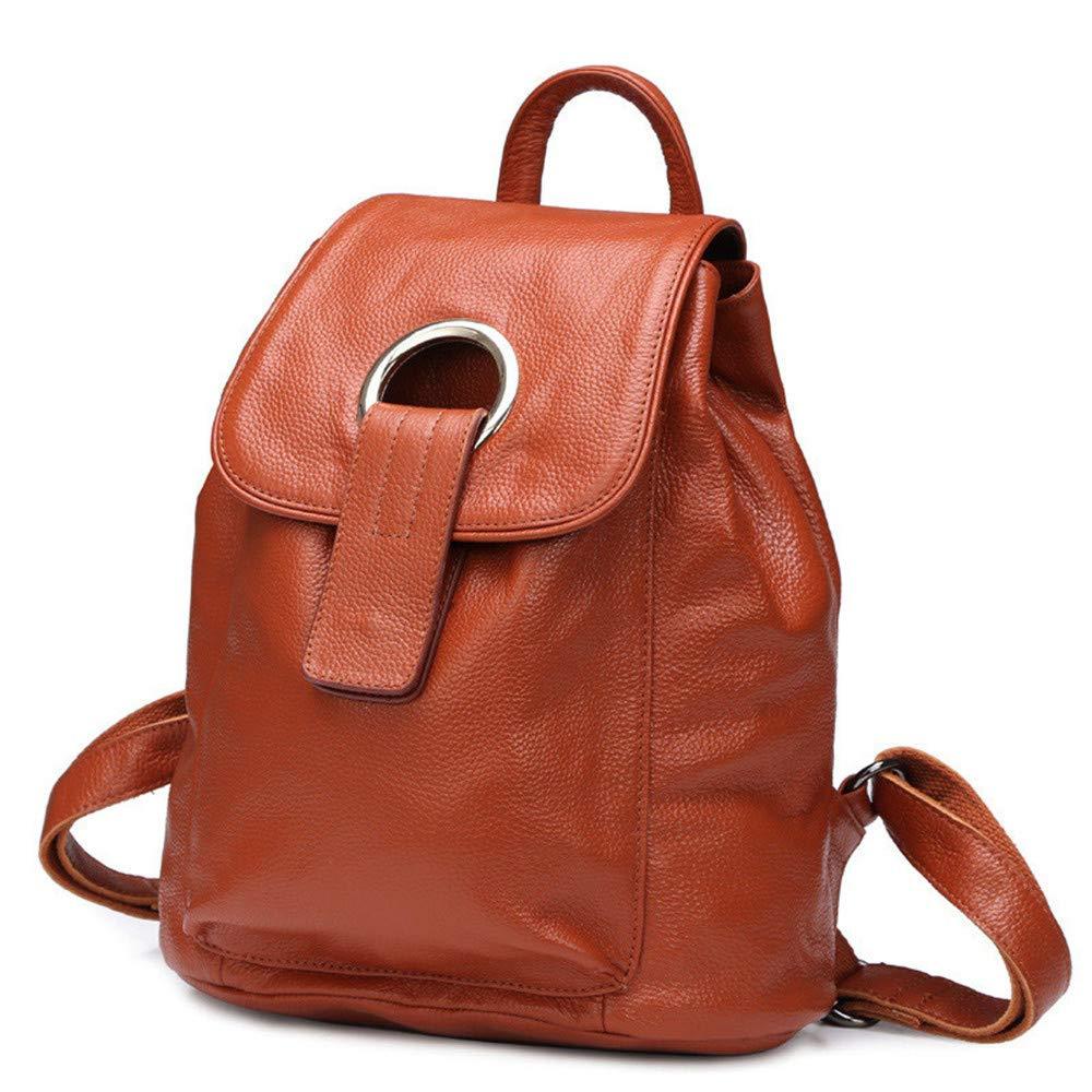 革レトロバックパックメッセンジャーバッグレディースハンドバッグ用女性複数ポケット大型レトロバックパックバッグロングストラップショルダーバッグ女性用ショッピング仕事旅行 (Color : Brown)  Brown B07QF7VHNC