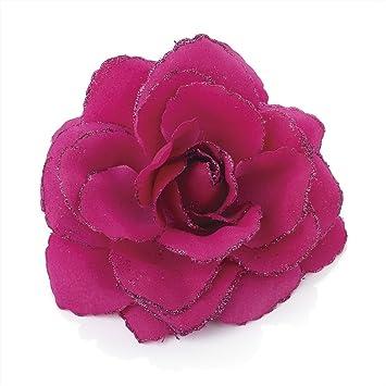 NEW 4.5cm Card of 4 pink// black floral print beak hair clip fashion