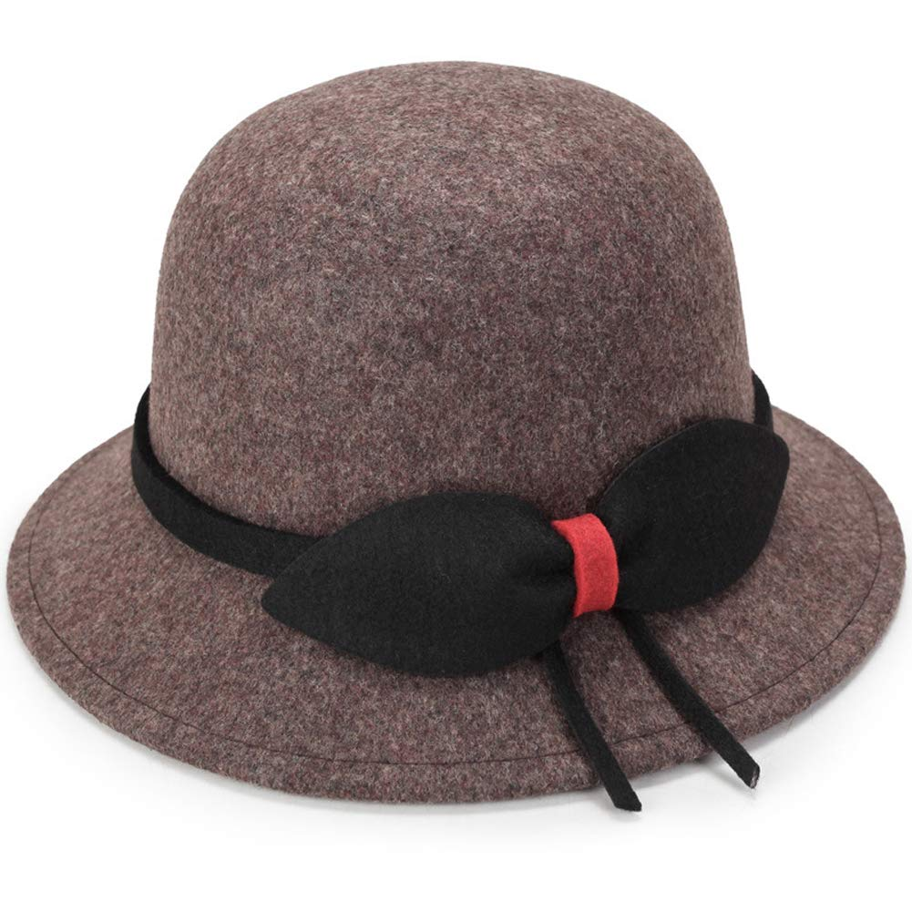 ChenXi Store Womens Flat Top Cashmere Bowknot Cap Wool Boater Hat