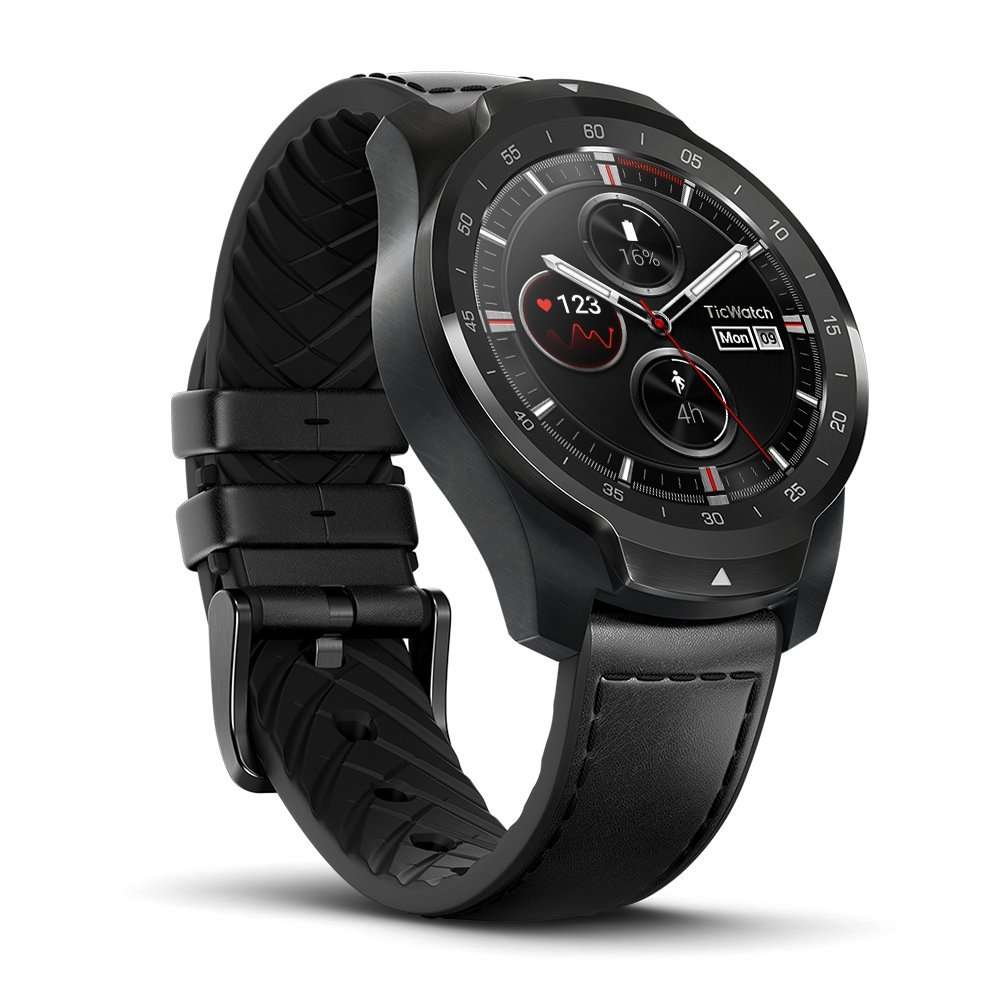 TicWatch Pro Bluetooth Smart Watch, Layered Display, NFC Payments, Google Assistant, Wear OS by Google (formerly Android Wear), Compatible with iPhone and Android (Black)