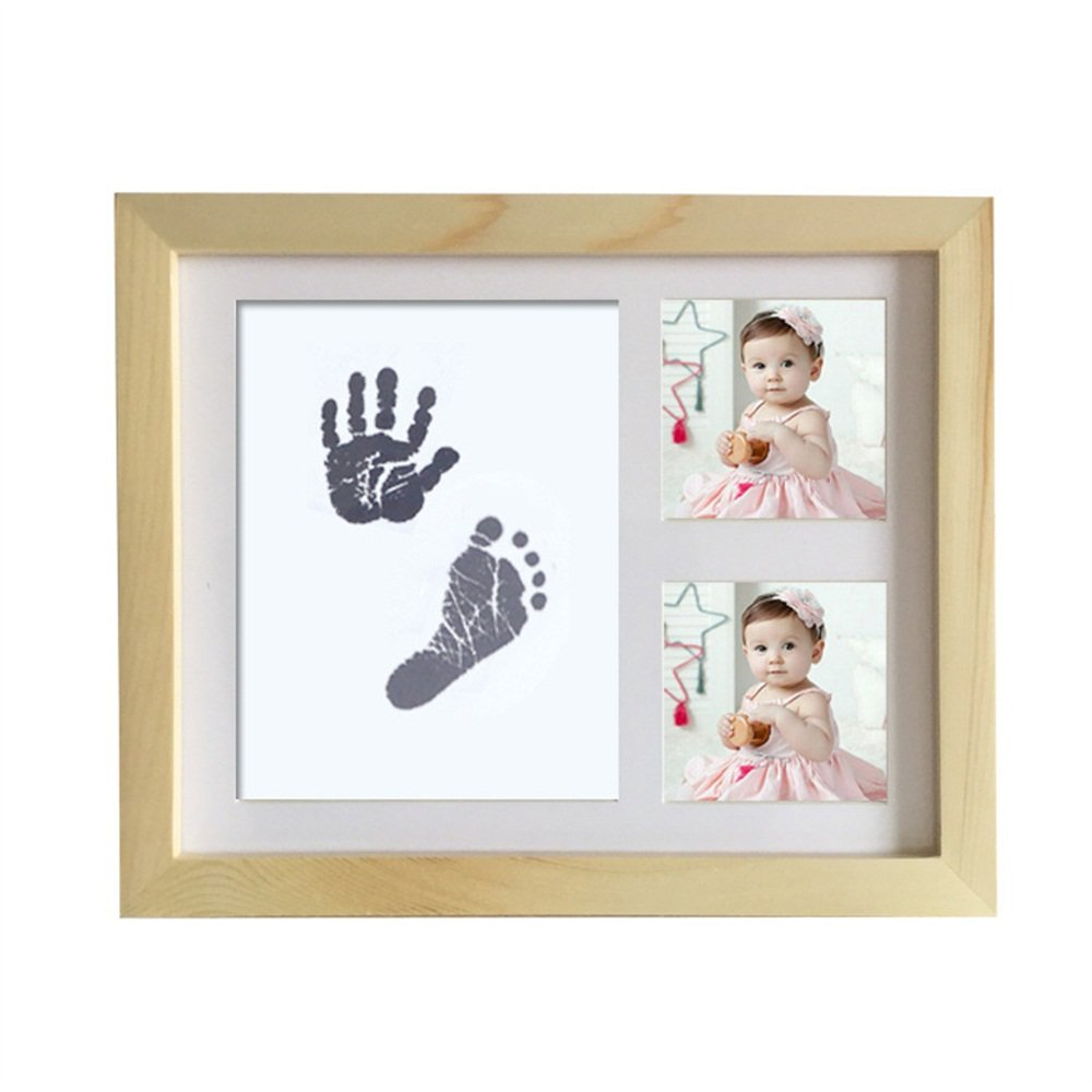 Baby Handprint Kit Hand & Footprint Makers DIY Keepsakes Picture Photo Frame for Newborn Baby Pets Shower Gifts Room Wall Table Décor Boy Girls (The original wood color)