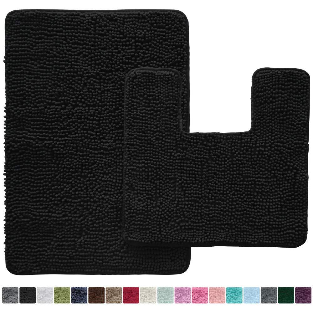 Gorilla Grip Original Shaggy Chenille 2 Piece Bath Rug Set, 19x19 Square U-Shape Contoured Toilet Mat & 30x20 Carpet Rug, Machine Wash/Dry Mats, Plush Sets for Tub Shower & Bathroom (Black)