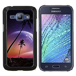 YiPhone /// Prima de resorte delgada de la cubierta del caso de Shell Armor - Hermosa Paradise Pink Planet Beach - Samsung Galaxy J1 J100