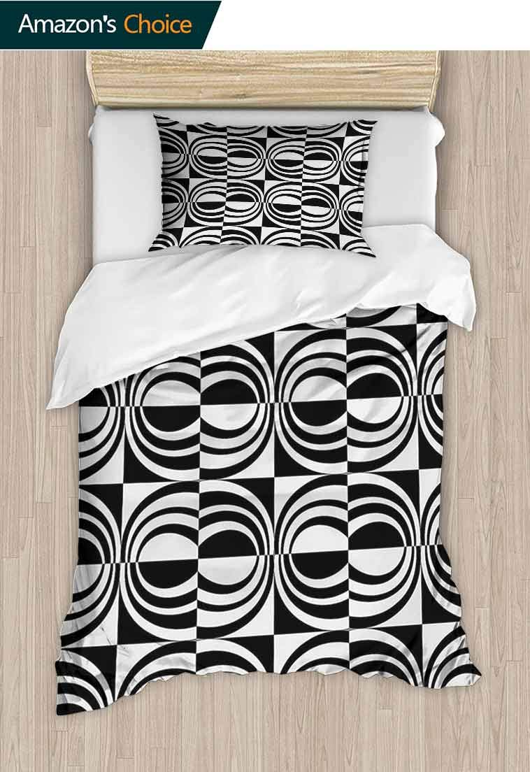 Contemporary DIY Quilt Cover and Pillowcase Set, Checkered Pattern with Contrast Colors and Curvy Lines Modern Mosaic, 3D Print 100% Polyester Fiber Quilt Cover & Pillowcases, 79 W x 90 L Inches