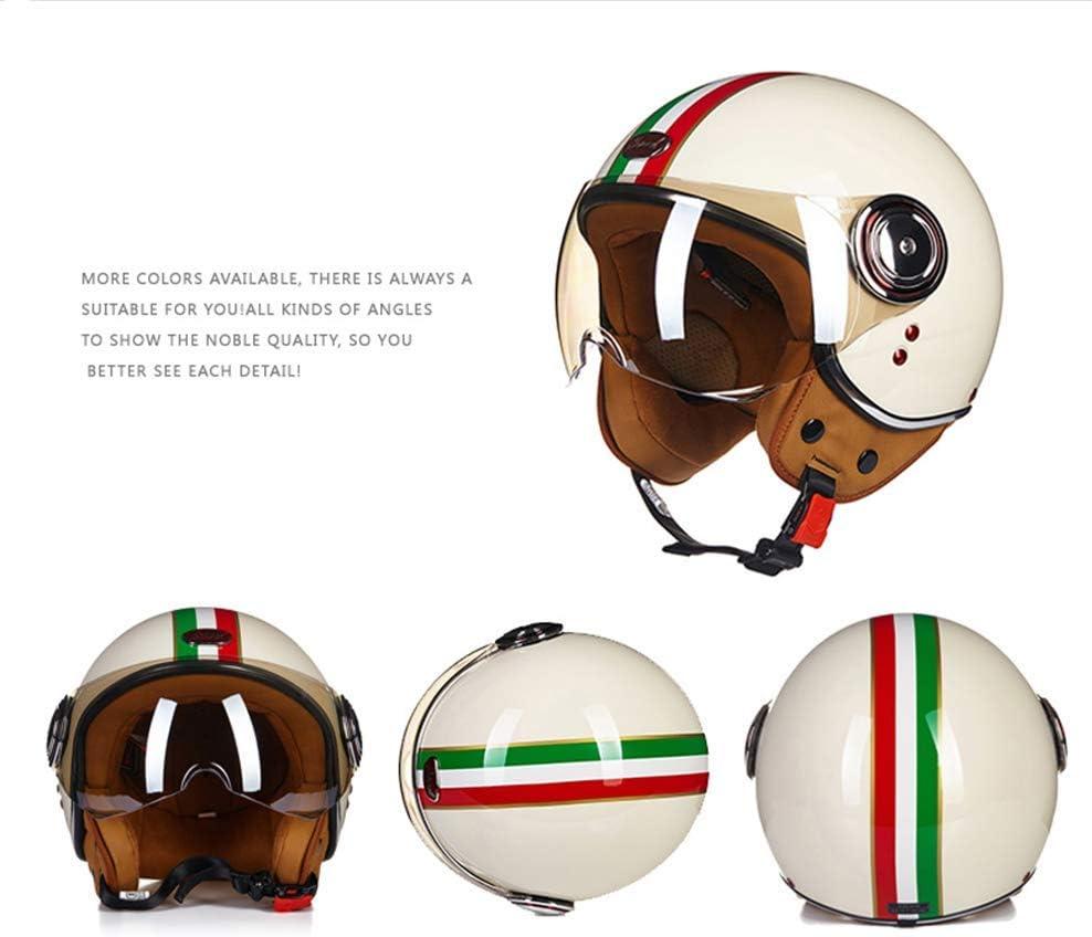 54~56cm 4 Styles Disponibles ECE D.O.T Certifi/é A,M Jet Vintage Casque Pilote Vespa Cruiser Scooter Casque Unisexe Harley Casque QYHT Open Face Moto Casque