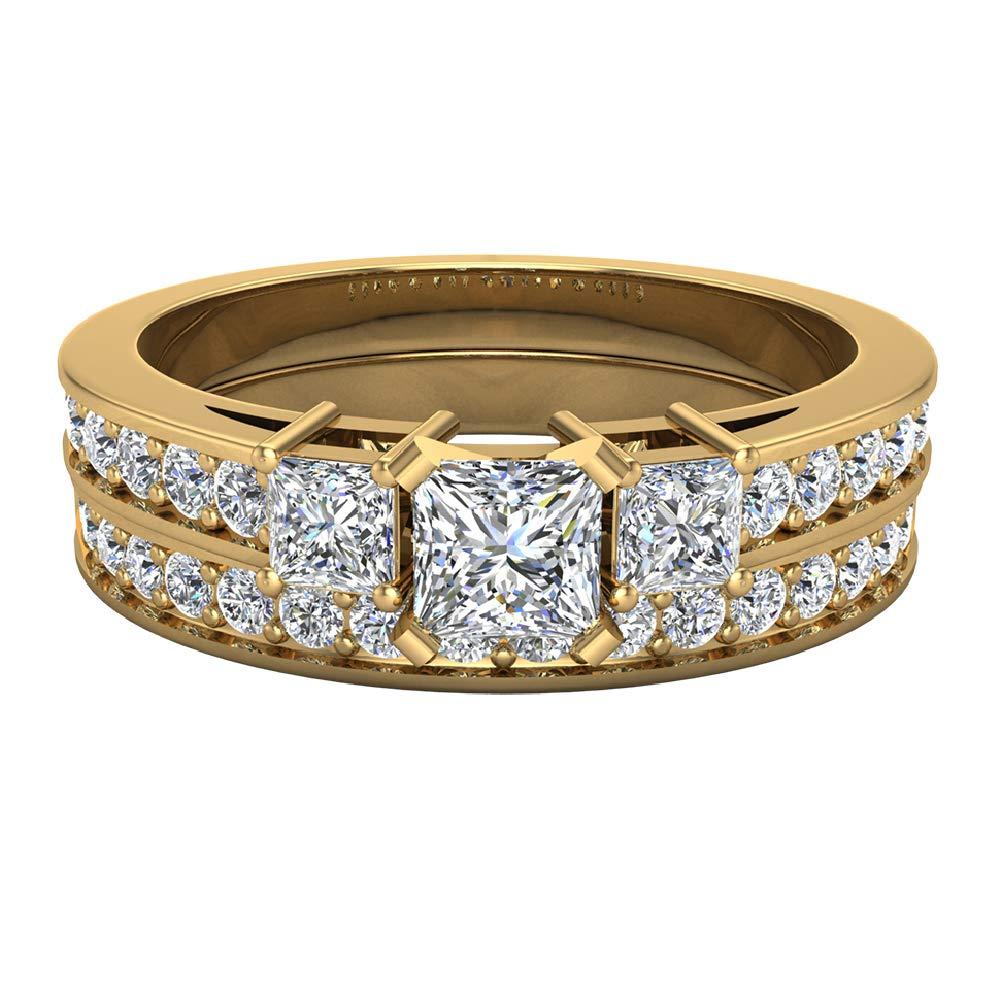 Past Present Future Princess Cut Diamonds 3 stone Accent Round Diamonds Wedding Ring Set 1.06 carat total weight 14K Yellow Gold (Ring Size 8) by Glitz Design (Image #4)