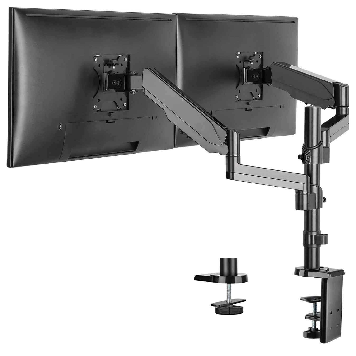 WALI Premium Dual LCD Monitor Desk Mount Fully Adjustable Gas Spring Stand for Display up to 32 inch, 17.6 lbs Capacity (GSDM002), Black by WALI