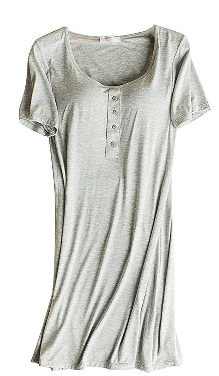 Hiwil Women's Henley Neck Short Sleeve Built-in Bra Sleepwear Nightdress Pajama HWATK0032