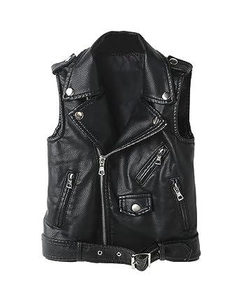 8451464e5973 Amazon.com  LOKTARC Kids Faux Leather Sleeveless Jackets Motorcycle ...