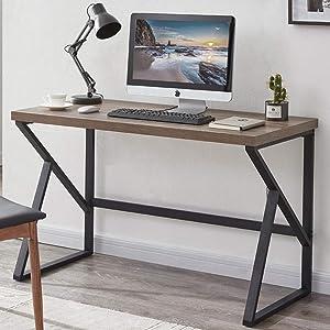 HSH Minimalist Desk, Industrial Home Office Desk, Sturdy Wood and Metal Desk, Rustic Vintage Oak 55 Inch Study Writing Desks Computer Desk Table