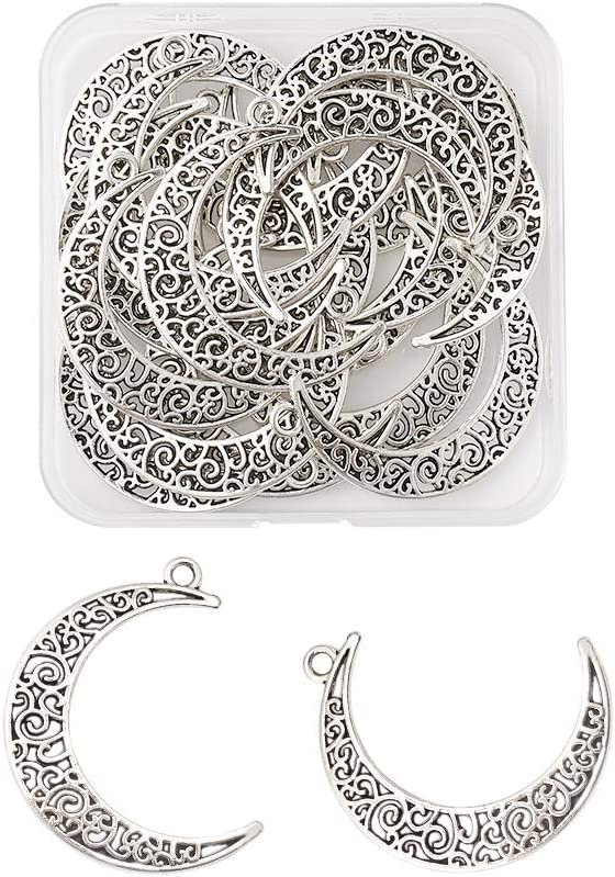 Kissitty 20pcs Antique Silver Hollow Moon Charms 40x29mm Cadmium Free & Lead Free Luna Crescent Symbol Filigree Charm Pendants with Container for DIY Necklace Jewelry Making