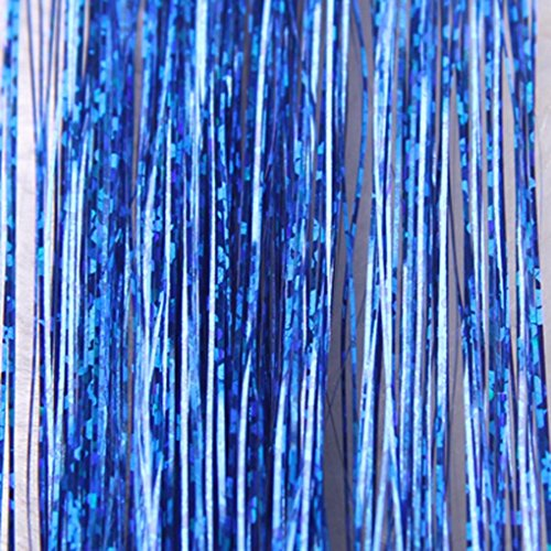 DZT1968 High-grade Hair Tinsel Sparkle Holographic Glitter Extensions Highlights Party Safe Wig (Blue) (Wig Tinsel Party)
