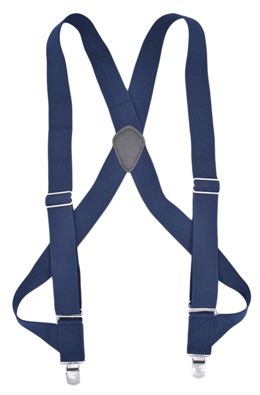 MENDENG Trucker Side Clip Suspenders X-back 1 1/2'' Wide Adjustable Braces Gift by MENDENG