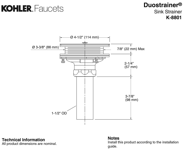 KOHLER K-8801-G Duostrainer Sink Strainer Brushed Chrome