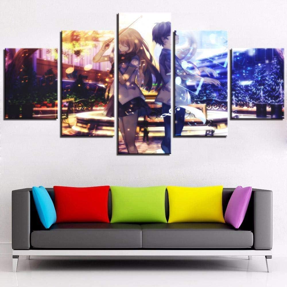 5 piezas de Shigatsu Wa Kimi No Uso Cartoon Cartoon Music Summer Halo Shadow Wallpaper Girl Violin Poster Sky Style Home Decoration 30 * 40 * 2 30 * 60 * 2 30 * 80 cm Sin marco Whoops