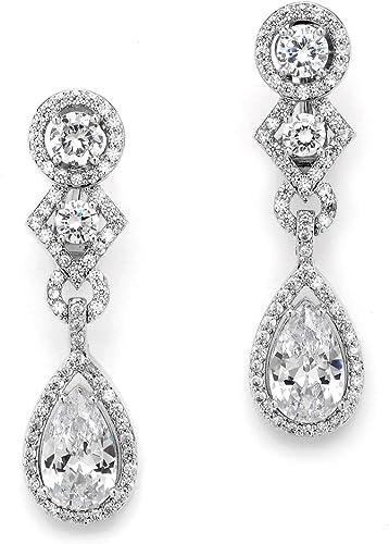 Fine Art Deco Style Solid Silver Circle Flower Shaped CZ Drop Earrings