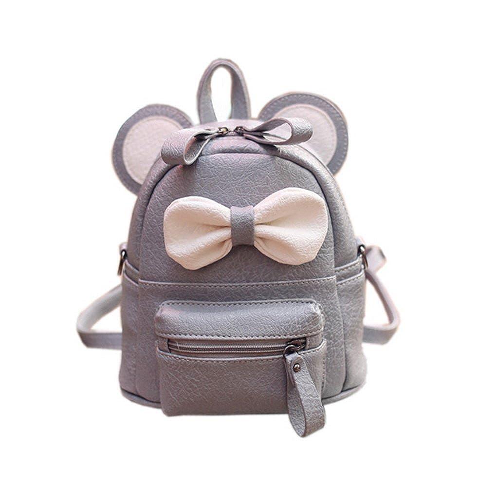 かわいい幼児用子供バックパック幼稚園バッグ旅行バックパック財布リボン付きグレー   B01MZIU7VF