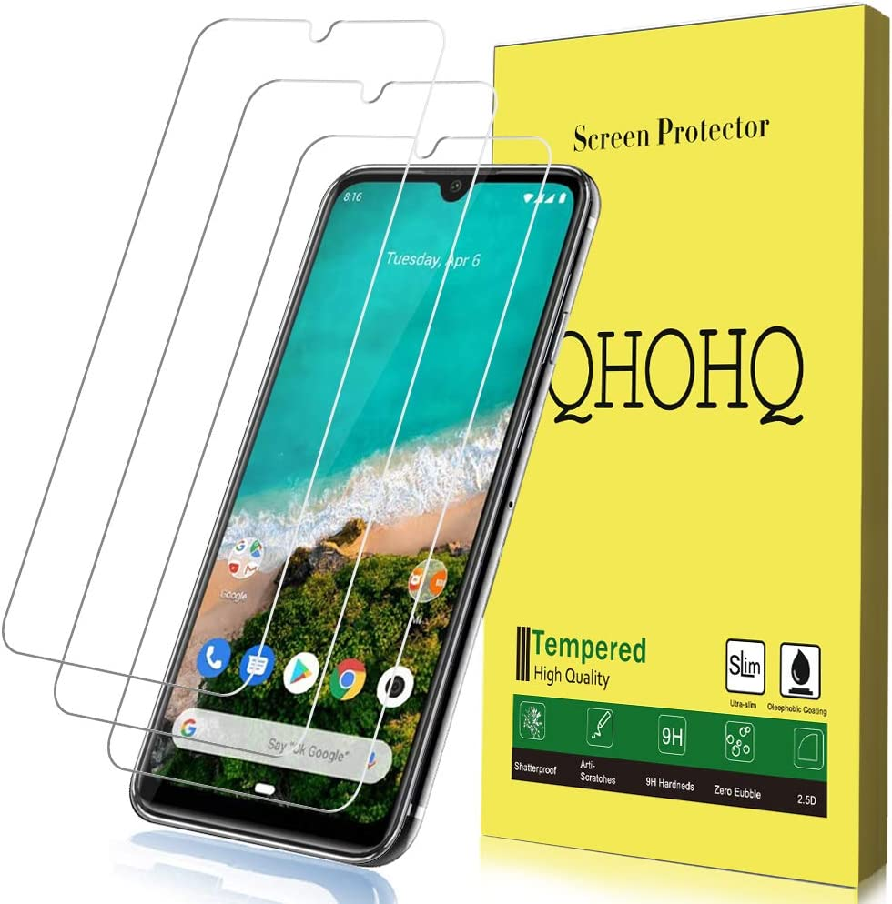 QHOHQ Protector de Pantalla para Xiaomi Mi A3, [3 Unidades] Cristal Templado Screen Protector 9H [Versión Mejorada] para Xiaomi Mi A3
