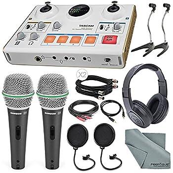 Tascam US-42 MinStudio Creator Audio Interface for Podcasting W/ Platinum Bundle W/ Cables + 2 Samson Microphones + Headphones + Pop Filters +Goose Neck Stands + Fibertique Cleaning Cloth