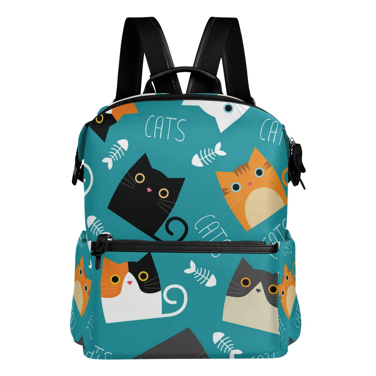 Laptop Backpack, Cat Large Cute School Bag Lightweight Waterproof Leather Travel Hiking Shoulder BookBag Durable Computer Bag Casual Daypack for Women Men by Mosica