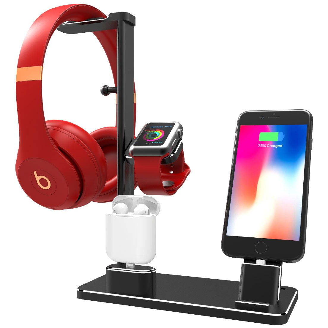 DHOUEA Compatible 6 in 1 Cell Phone Stand Replacement for Apple Watch Charging Dock Station Headphones Holder for Phone Xs Max XS XR X 7 7plus 6s 6plus iPad Apple Watch Series 4 3 2 1 AirPods (Black)