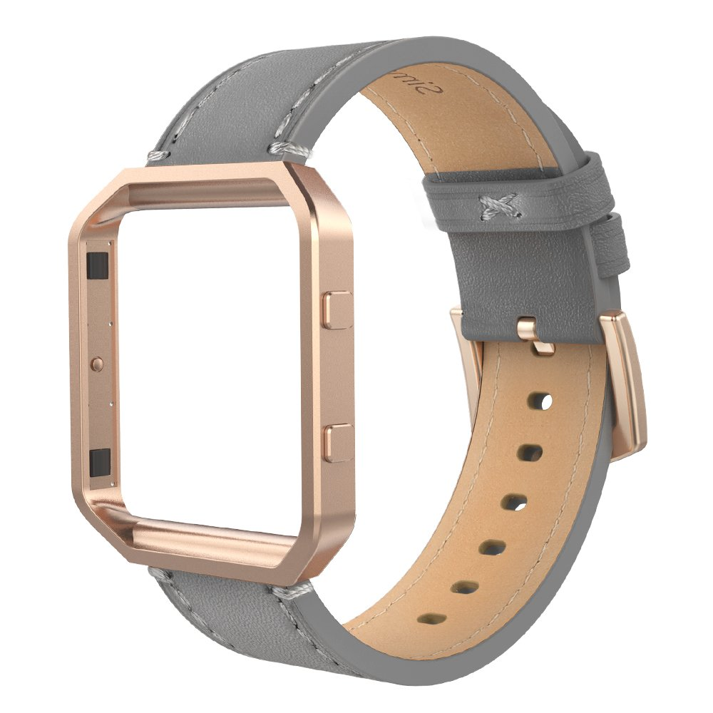 Simpeak Compatible for Fitbit Blaze Bands with Frame, Small, Multi Color, Genuine Leather Band for Fit bit Blaze Smartwatch Women Men, Grey Band + Rose Gold Metal Frame by Simpeak