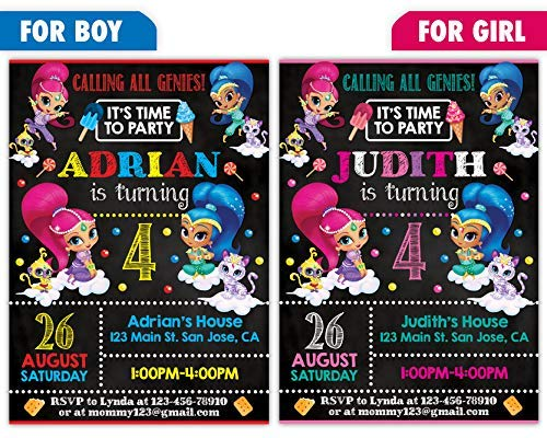 Custom Shimmer And Shine Birthday Party Invitations For Boy Or Girl 10pc 60pc 4x6 5x7 Cards With White Envelopes Printed On Premium 265gsm