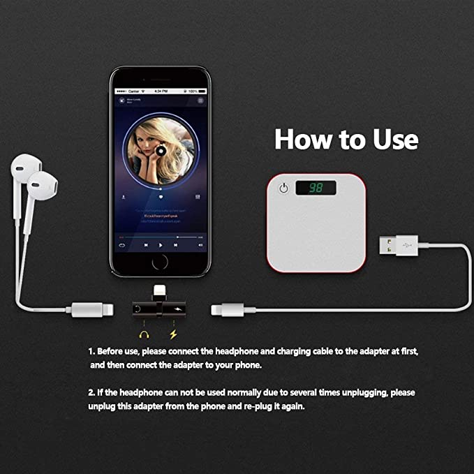 Baoblaze 2 in 1 Aufladung /& Kopfh/örer Adapter f/ür iPhone 7 7p Musik h/ören und Aufladen gleichzeitig 8 X 8p