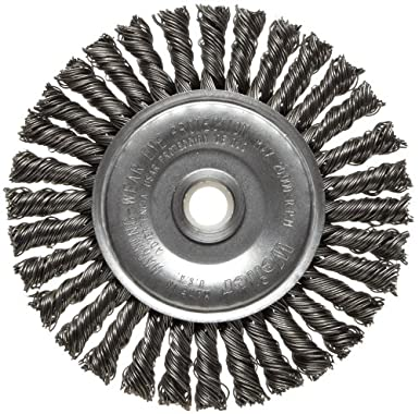 Weiler Dualife Narrow Face Wire Wheel Brush 20000 rpm Round Hole 4 Diameter 7//8 Bristle Length 3//16 Brush Face Width Steel 0.020 Wire Diameter Stringer Knotted 1//2-3//8 Arbor