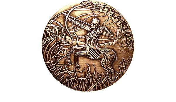 Sagittarius Sagitario Memento Mori Zodiac Skull Horoscope Moneda ...