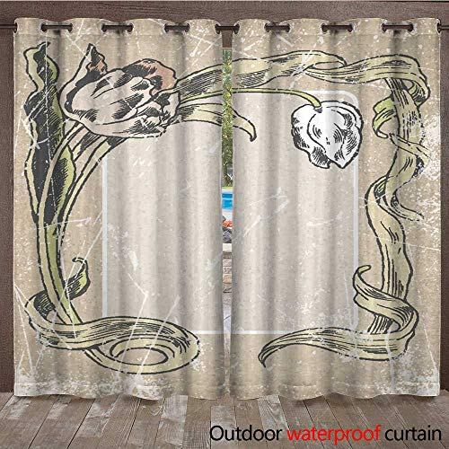 Frame Tulip Chrome (RenteriaDecor Home Patio Outdoor Curtain Post Card Invitation Blank Floral Frame Tulips Hand Drawn W96 x L108)