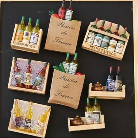 PINGS 5 Unids/Set Creativo Estilo Francés Botella de Vino Tinto ...