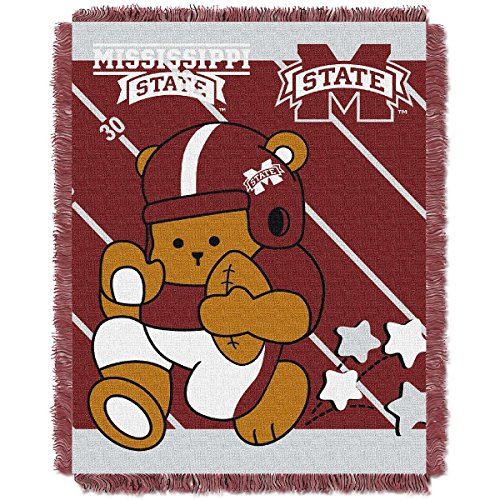 The Northwest Company MISSISSIPPI BULLDOGS FULLBACK BABY TRIPLE WOVEN JACQUARD THROW Bulldogs Triple Woven Throw