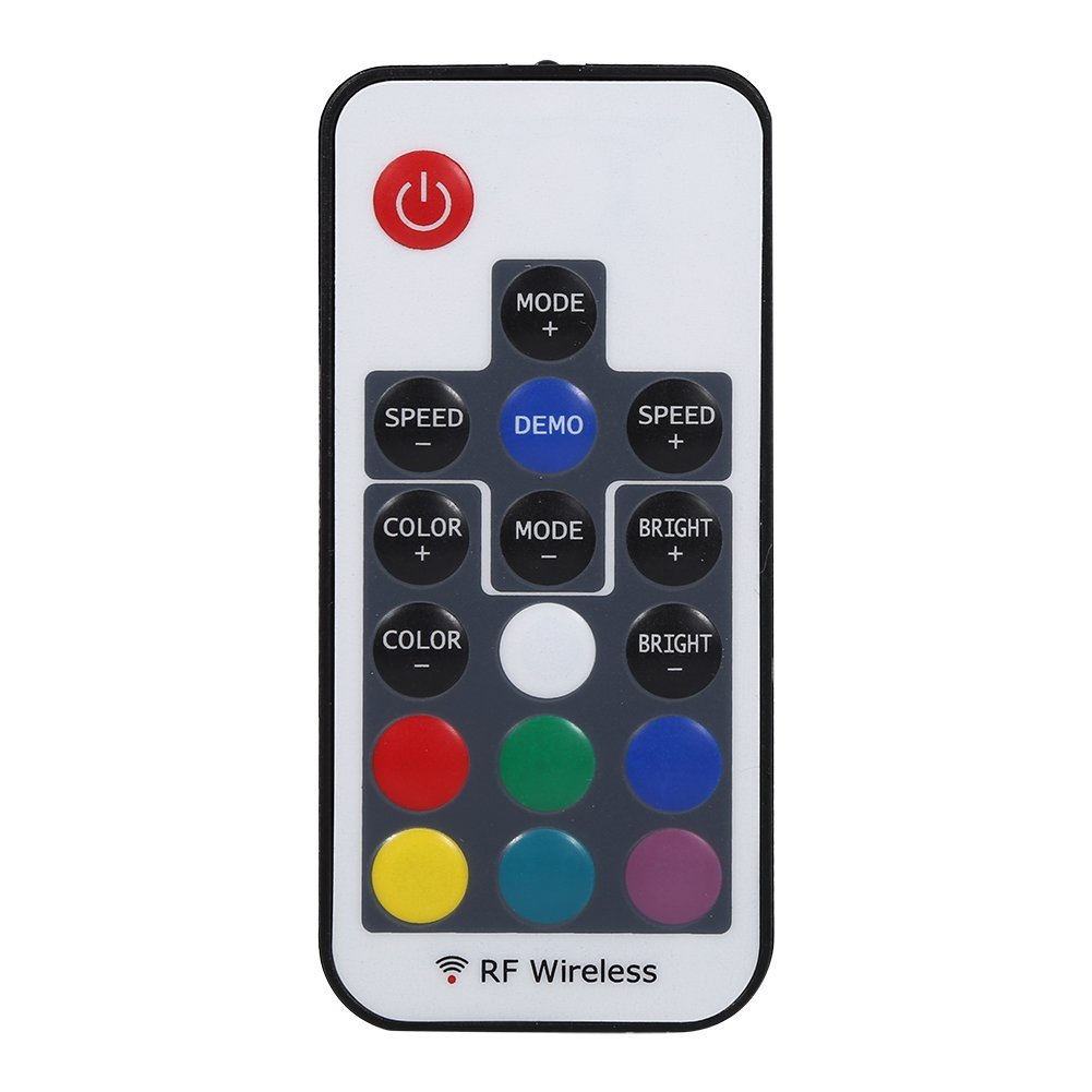 Asixx LED Strip Controller, Mini 17/20/24/44 Keys IR/RF Remote Wireless Controller 3528 5050 RGB LED Strip Light(17 Keys)