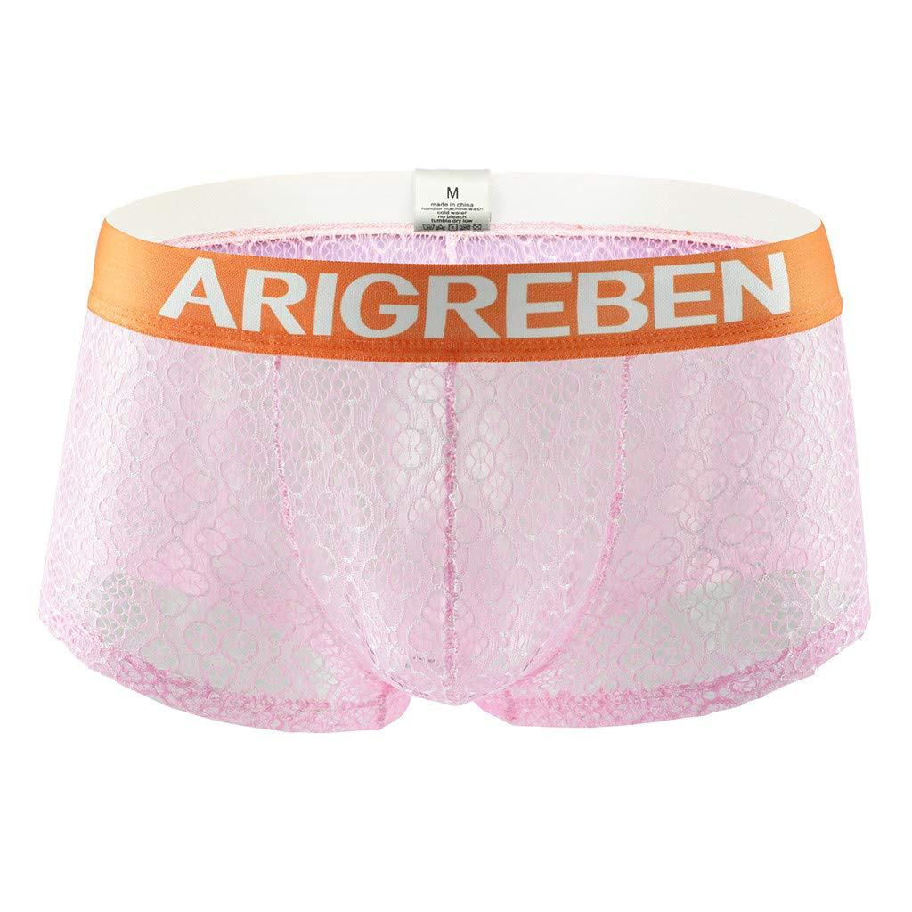 Mens Underwear Sexy Breathable Lace Raise Shorts Raised Arigreben Four-Corner Briefs (Pink,M)