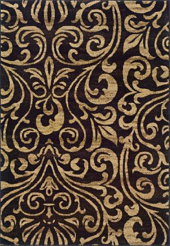 Leaf Black Scroll (Oriental Weavers Emerson 2033C Area Rug, 1'10 x 7'6