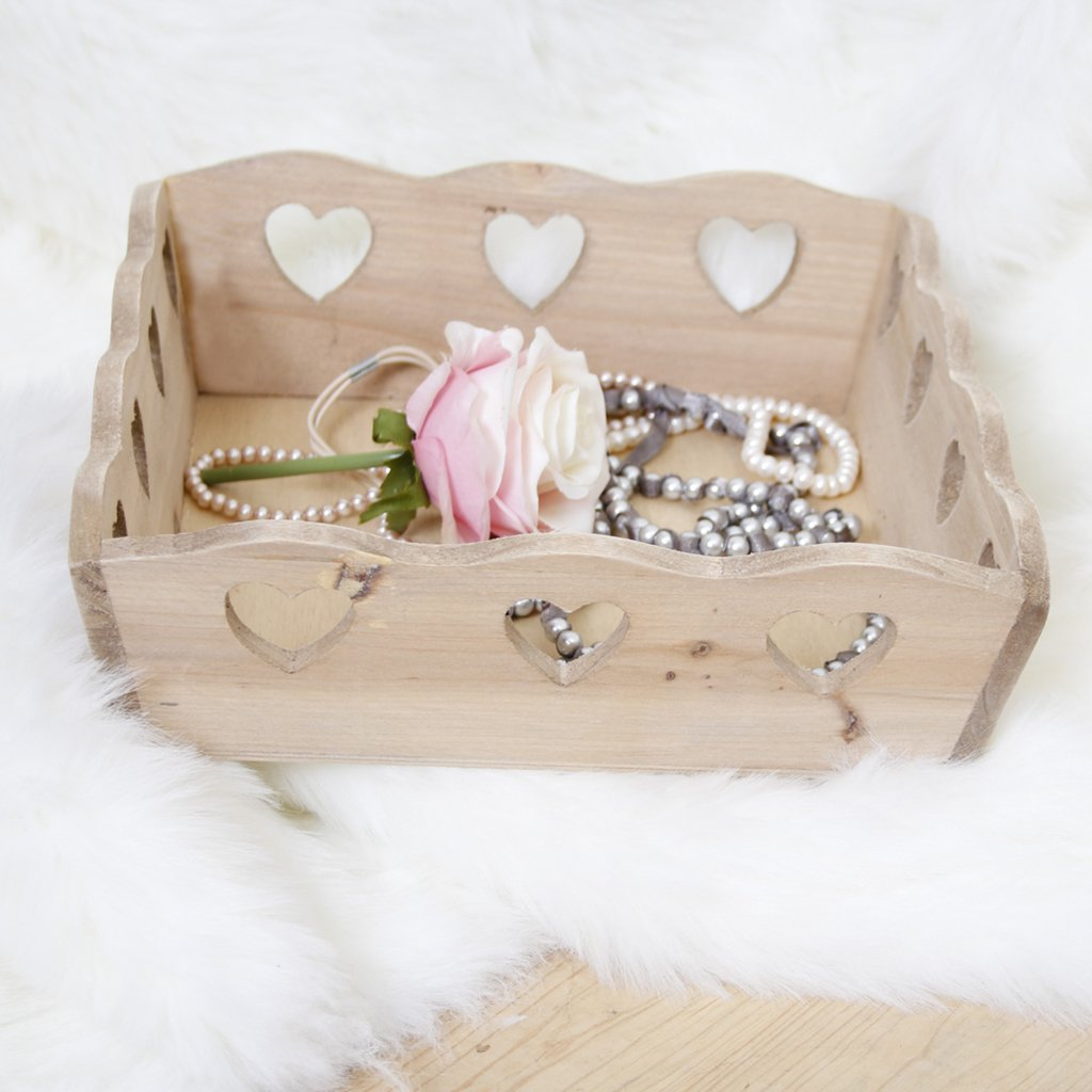 Rustic Wooden Basket Store with Cut Out Hearts H9 x W28 x